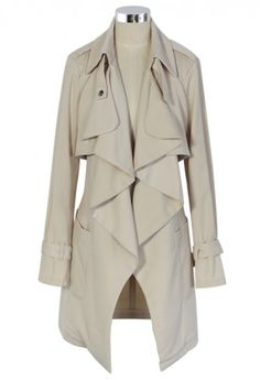 Khaki Trench Coat with Waterfall Drape
