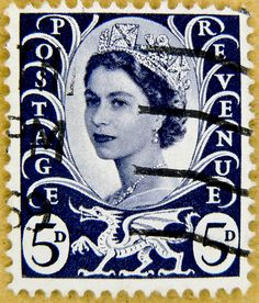 old stamp GB UK 5D (pence) predecimal wilding 5p 5d blue regional stamp dragon of wales queen QEII elisabeth royal pence penny elizabeth england uk great britain united kingdom postage revenue stamp 5d porto timbre bollo sello marke briefmarke stamp by stampolina, via Flickr