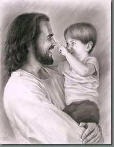 Jesus Christ says we must become like little children to enter His Kingdom. This drawing is so precious. Love seems to radiate from the picture. - I hope you know and love Jesus this way all your life little Judah! Images Du Christ, Pictures Of Christ, Lds Pictures, Image Jesus, Jesus Christus, Lds Art, Jesus Loves Me, Christian Art, Christian Quotes