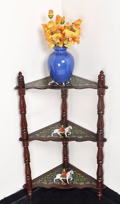 Indian Wedding Furniture House Room Decoration 3 Shelf Corner Table Wooden Shelves Diwali Gift 37 x 16.5 x 16.5 Inch by HouseOfHandicraft on Etsy