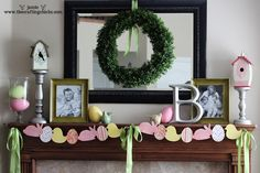 Easter Mantle {Easter Garland and Easy Decor Ideas}