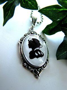 Reduced Price///Snow White necklace, pendant on chain, silhouette, wearable art, cameo necklace, SMALL PENDANT