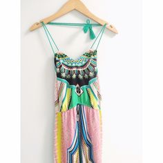 Mandala Gypsy Halter Maxi Dress  This dress is vibrant and gorgeous with its beautiful patterns. Maxi dress, floor length with a rope style halter tie, its so unique. Open to all offers and will discount on all bundles. No trades  Flying Tomatoes Dresses Maxi