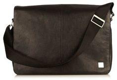 Men's Knomo London Brompton Bungo Rfid Leather Messenger Bag - Black