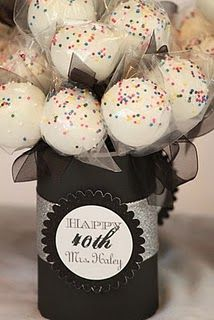 40th birthday cake pops in cute DIY decorated cans