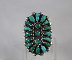 Ring | Artist ? (Zuni).  Teal blue green turquoise and silver.  ca. 1950s