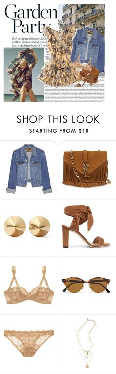 """Untitled #1758"" by hellohanna ❤ liked on Polyvore featuring Acne Studios, Yves Saint Laurent, Eddie Borgo, Rebecca Taylor, Jimmy Choo, Deborah Marquit, Ray-Ban and Topshop"