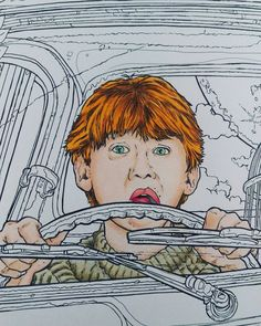 """""""Bloody hell!"""" - Ron Weasley! #harrypotter #harrypottercolouringbook #ronweasley #colouring #fabercastell #fabercastellpolychromos"""