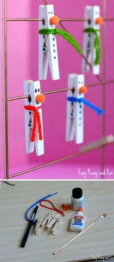Clothespin Snowman Craft for Kids .