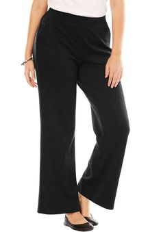 Women's Plus Size Petite Pants In Stretchy Ponte Knit >>> Want additional info? Click on the image. (This is an affiliate link) #YogaPants