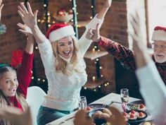 Photo of cheerful positive nice pretty woman with daughter nearby with grandfather in santa hat headwear at table with festive food and lights illumination behind - Buy this stock photo and explore similar images at Adobe Stock Van Halen, Food Festival, Santa Hat, Michael Jackson, Cake Pops, Pretty Woman, Cheer, Nostalgia, Daughter