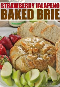 This Strawberry Jalapeno Baked Brie is an impressive, delicious appetizer that is really fast & easy to make - click over to Rose Bakes to see! Appetizer Dips, Yummy Appetizers, Appetizers For Party, Appetizer Recipes, Snack Recipes, Dessert Recipes, Desserts, Tapas, Baked Brie