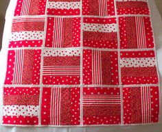 quilted throw patchwork quilt red duvet by FingerPrickingGood