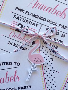 Pink flamingo pool party birthday invitation with mini flamingo and baker twine…