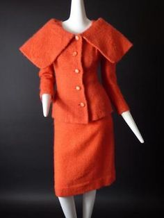 LILLI ANN-1950s Orange Wool Boucle Suit, Size-8