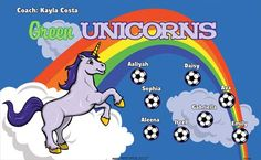 Green Unicorns B51969  digitally printed vinyl soccer sports team banner. Made in the USA and shipped fast by BannersUSA.  You can easily create a similar banner using our Live Designer where you can manipulate ALL of the elements of ANY template.  You can change colors, add/change/remove text and graphics and resize the elements of your design, making it completely your own creation.