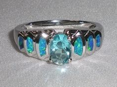 Silver Blue Fire Opal & Aquamarine Ring