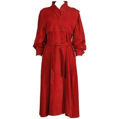 Preowned Fendi Vintage 1990s Red Suede Leather Trench Coat + Matching... ($895) ❤ liked on Polyvore featuring outerwear, coats, red, trench coats, trench coat, suede leather coat, karl lagerfeld, red suede coat and red trenchcoat