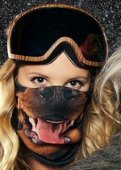 BEARDO Rottweiler Dog Ski Snowboard Face Mask HD Print Motorcycle Cold Riding