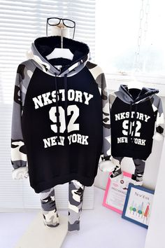 QZZ160 Winter 1 6Y kids No.92 camouflage family matching hoodies sweatshirts father mother and son fleece thick warm clothes,High Quality warm clothes
