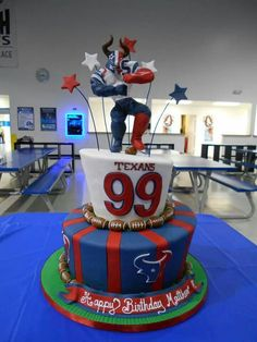 Good idea for some kind of sports-themed grooms cake for David! My Birthday Cake, 6th Birthday Parties, Baby Birthday, 12th Birthday, Houston Texans Cake, Houston Texans Football, Texas Cake, Football Themes, Football Cakes