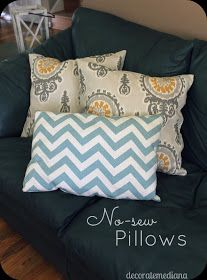 No-Sew Pillows...I like it!  Even if it's just to close the pillow after stuffing!
