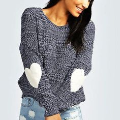 Long Sleeve Knit Loose Sweater with Heart Elbow Patches Collar: O-Neck Material: Polyester,Cotton Sleeve Length: Full Crocheted