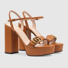Gucci Platform sandal with Double G Gucci Store, Gucci Brand, Gucci Gifts, Orange Leather, Brown Leather, Women's Shoes Sandals, Designer Shoes, Fashion Shoes, Fashion Fashion