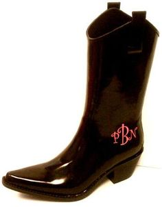 Cowboy Rain Boots Black with a monogram!! I absolutely love these!!!!