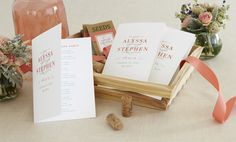 Create a unique wedding reception with a stationery suite: ceremony programs, menu cards, and place cards.