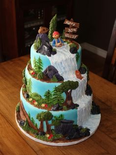 The Great Outdoors Made this for my nephew's He loves the outdoors and fishing . The foreground. Campfire Cupcakes, Nature Cake, Camping Cakes, Ocean Cakes, Cake For Husband, Adult Birthday Cakes, 30th Birthday, Cakes For Men, Guy Cakes
