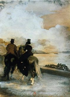 Edgar Degas - Two Riders by a Lake, 1861, Biblioteque Nationale de France