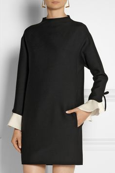 Valentino | Ruffled wool and silk-blend mini dress | NET-A-PORTER