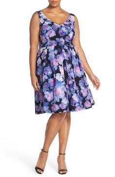 Floral Rain Print Fit & Flare Dress (Plus Size) by City Chic