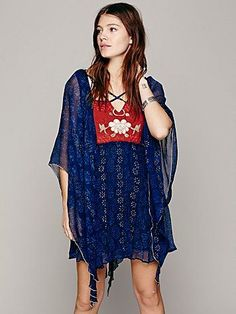 Free People Maheya Indigo Print Tunic. Of course, I'd likely wear pants with it.