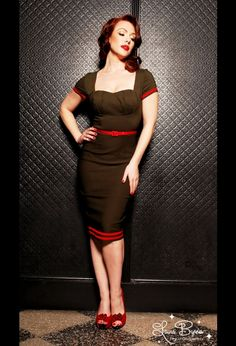 Military Pinup Dress in Olive Green with Red Details from Pinup Couture
