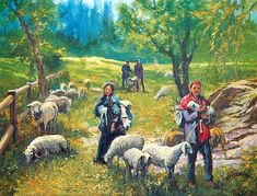 Himachali Shepherds - People Posters (Reprint on Paper - Unframed) Indian Art Paintings, Animal Paintings, India Poster, India Painting, Rural India, Figure Sketching, Coq, Christian Art, Art Pictures