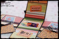 Happy Halloween. Mini Scrapbooking diseñado por Alagaina con sellos de Tiddly Inks, papeles de colección A Mother Goose de Graphic 45 y tintas Distress de Ranger. www.artescrap.com