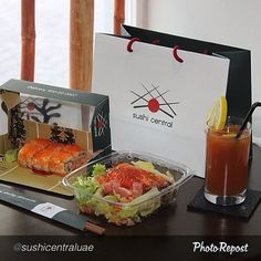 """#UAEFood #LunchIdea for tomorrow: @Lydia Squire Central """"BUSINESS LUNCH box from Sushi Central. Uramaki Roll, one salad of your choice. You have the option to add a fresh Juice/Ice Tea. Call us on 600-52-0007 & 02-5552236 and we will deliver at your office or home. #SushiLove #SushiCentral #uae #dubai #abudhabi #alain #fujairah #passion #love #instafood #instalove #instapic #picoftheday #seafood #japan #tokyo #health #fitness #fresh #delivery #restaurant #thebest #emirati #arab #youth…"""