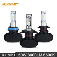 Auxmart H4/H7/H11 50W LED Headlight 6500K 8000LM Hi-Lo/Single Beam Car Headlamps for Ford Chevrolet Audi BMW Honda Toyota Nissan -- Locate the offer simply by clicking the image