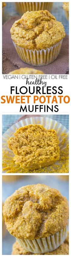Healthy Flourless Sweet Potato Muffins recipe- Hands down the BEST sweet potato muffins you'll ever eat- You won't even know they are healthy! NO butter oil white sugar or flour! {vegan gluten free sugar free}