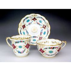 Victorian tea and coffee cups and saucer trio 19th century