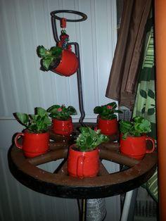 blumenständer aus: alten tassen, einem alten holzwagenrad, einer rosenstange. hinterher noch kleine lampions dranhängen :-)