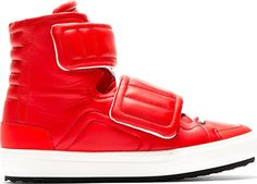 Pierre Hardy Red Leather Velcroed High-Top Sneakers.