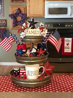 24 July Tiered Tray decoration ideas to glam up your home in Patriotic Spirit. Make your July decoration even more special with the best July Tiered tray decoration ideas. These Patriotic Day decorations are easy to do. Fourth Of July Decor, 4th Of July Decorations, 4th Of July Party, July 4th, 4th Of July Wreath, Memorial Day Decorations, Table Decorations, Galvanized Tray, Seasonal Decor