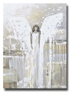 """ORIGINAL Abstract Angel Painting Fine Art Guardian Angel Grey White Cream Neutral Home Wall Decor X Large 36x48"""""""