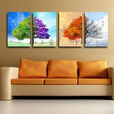 4 pieces huge Canvas No Frame Modern Abstract Art Oil Painting Wall | EverthingDigital - Art on ArtFire