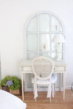 "cream vanity ~ to see more cottage ideas see my board called ""cottage composure"" Morgan vanity, mirror"