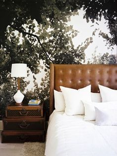 10 Best Patterned Accent Walls | Camille Styles - This would be so relaxing to wake up to! #bedroom #design #wallpaper