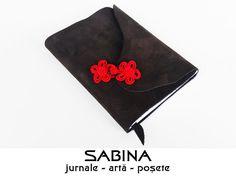 Jurnal A6 piele cu broderie rosie brandenburg - (inchidere cu magnet) - Jurnal de calatorie - Agenda personalizata